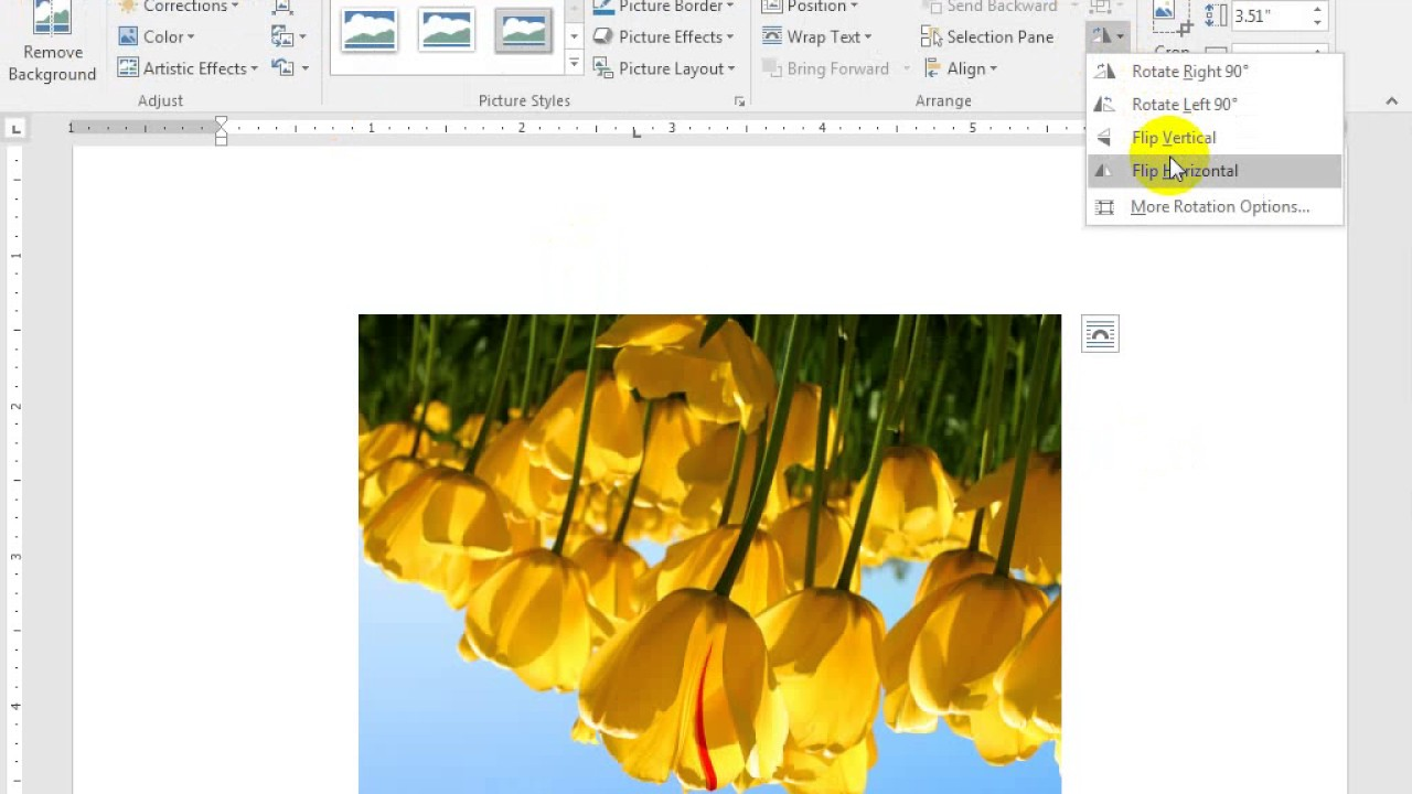 Background image rotate 90 - How To Rotate A Picture In Word