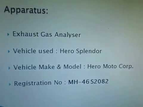 Exhaust Gas Analysis Expt