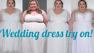 Plus size wedding dress try on!