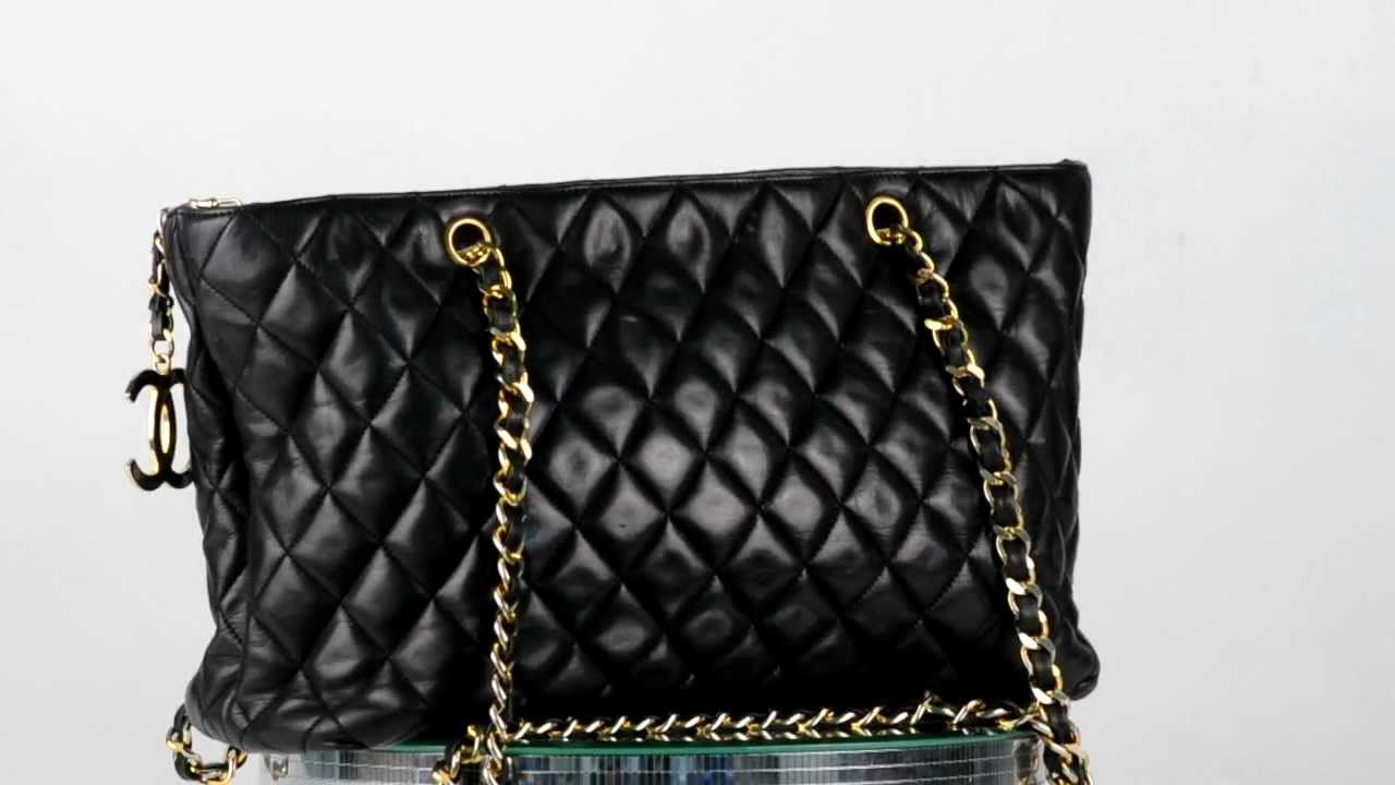 e2a621eb5a99 CHANEL Quilted Lambskin TOTE BAG Shoulder Handbag Purse GOLD CC Authentic  Black