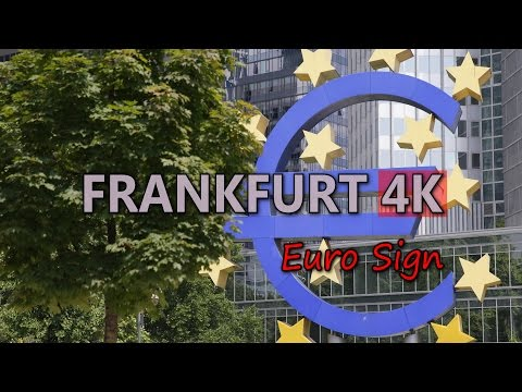 Ultra HD 4K Frankfurt Travel Euro Sign Symbol European Central Bank Germany UHD Video Stock Footage