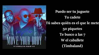 Move your body letra Wisin ft Bad Bunny Timbaland