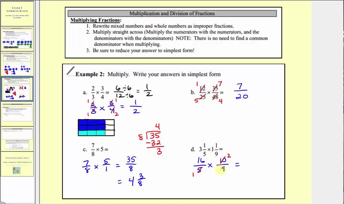 Review: Multiplication and Division of Fractions and Mixed Numbers