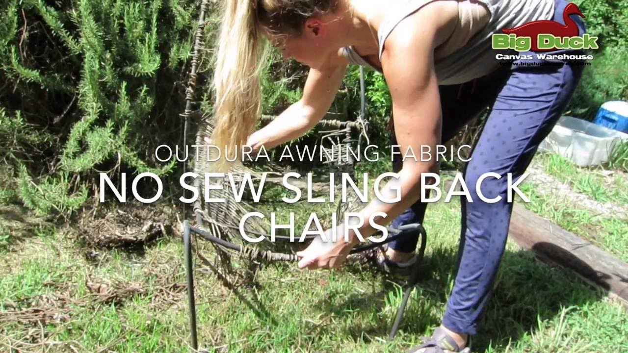 Recover Sling Back Outdoor Chairs Without Sewing!   YouTube