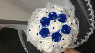 БРОШЬ БУКЕТ, Букет из лент, букет невесты из синих роз, букет из брошей, BROOCH BOUQUET