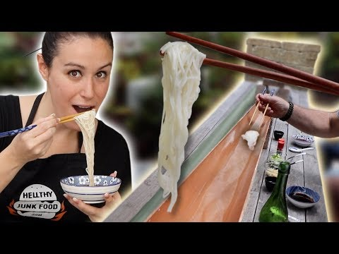 DIY Japanese 🇯🇵 Bamboo NOODLE SLIDE 🍜 Nagashi Somen Recipe