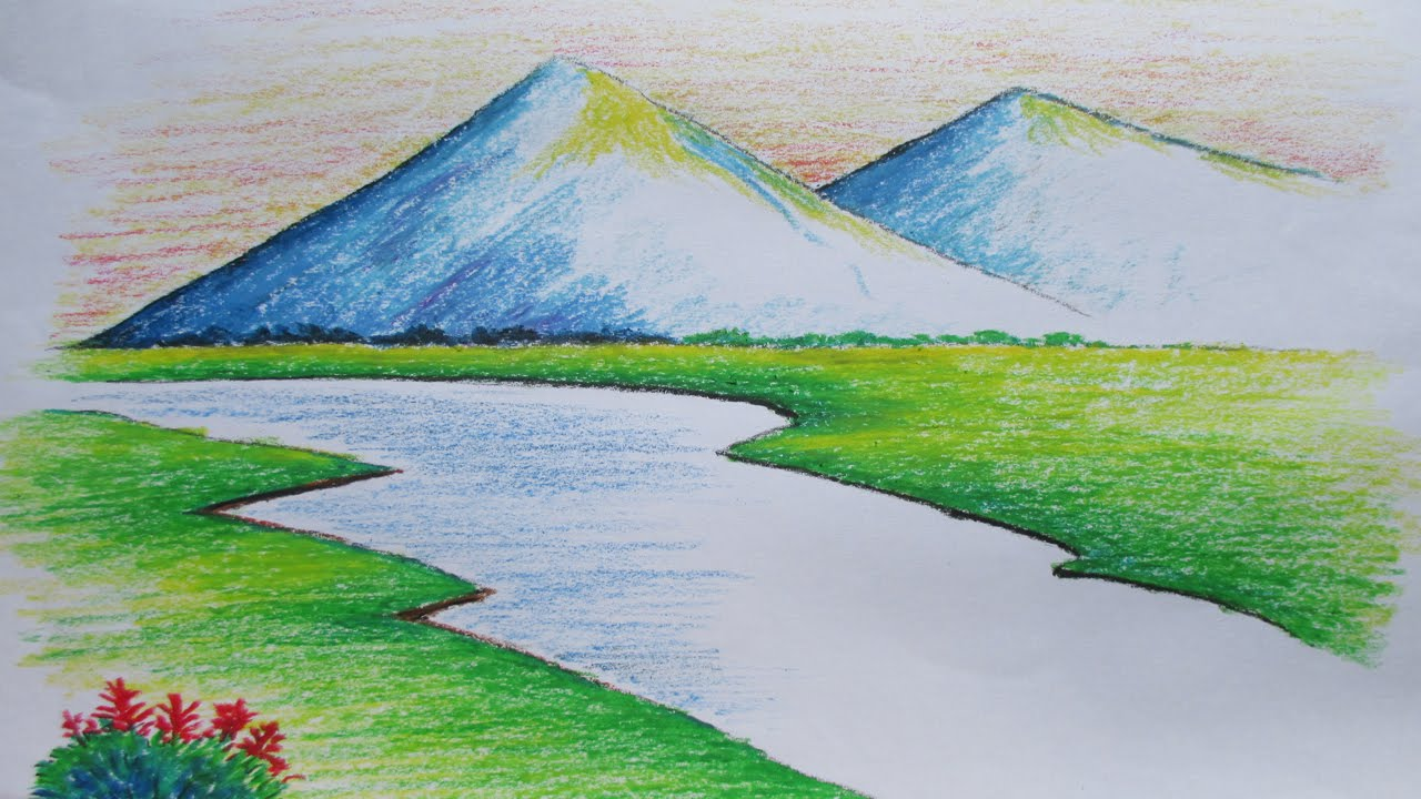 Beginners mountain landscape drawing with oil pastel youtube
