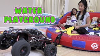Pretend Play NEW WATER PLAYGROUND With Giant Floats