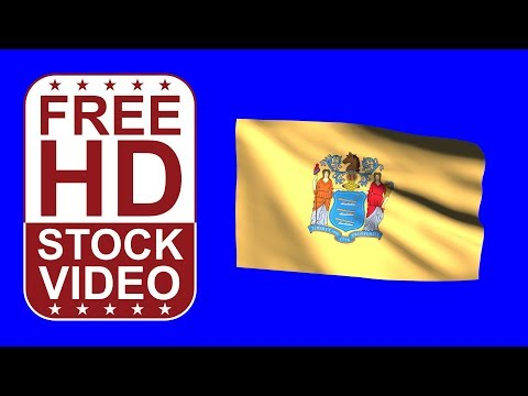 FREE HD video backgrounds – USA New Jersey State flag waving on blue screen 3D animation