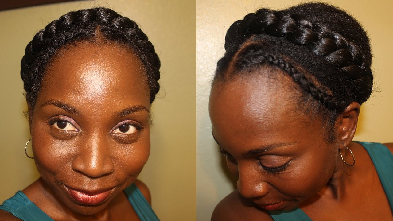 Easy Protective Style on Natural Hair Crown Braid Headband