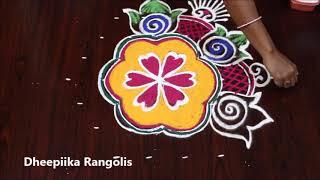 simple & easy rangoli design with 7 dots l friday kolam design l varalakshmi vratham special muggulu