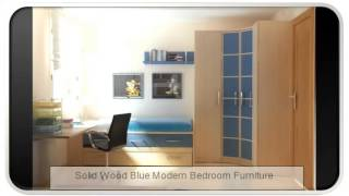 Solid Wood Blue Modern Bedroom Furniture