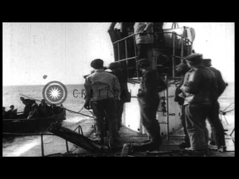 "German submarine, U-35, stops and sinks the British ship, ""Parkgate, ""during Worl...HD Stock Footage"