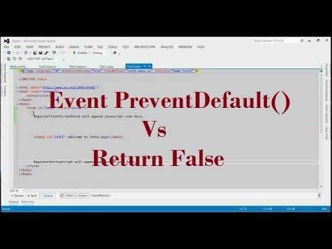 Difference Between Event PreventDefault() And Return False