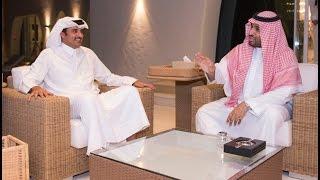 الأمير محمد بن سلمان يجتمع مع الشيخ تميم بن حمد امير قطر