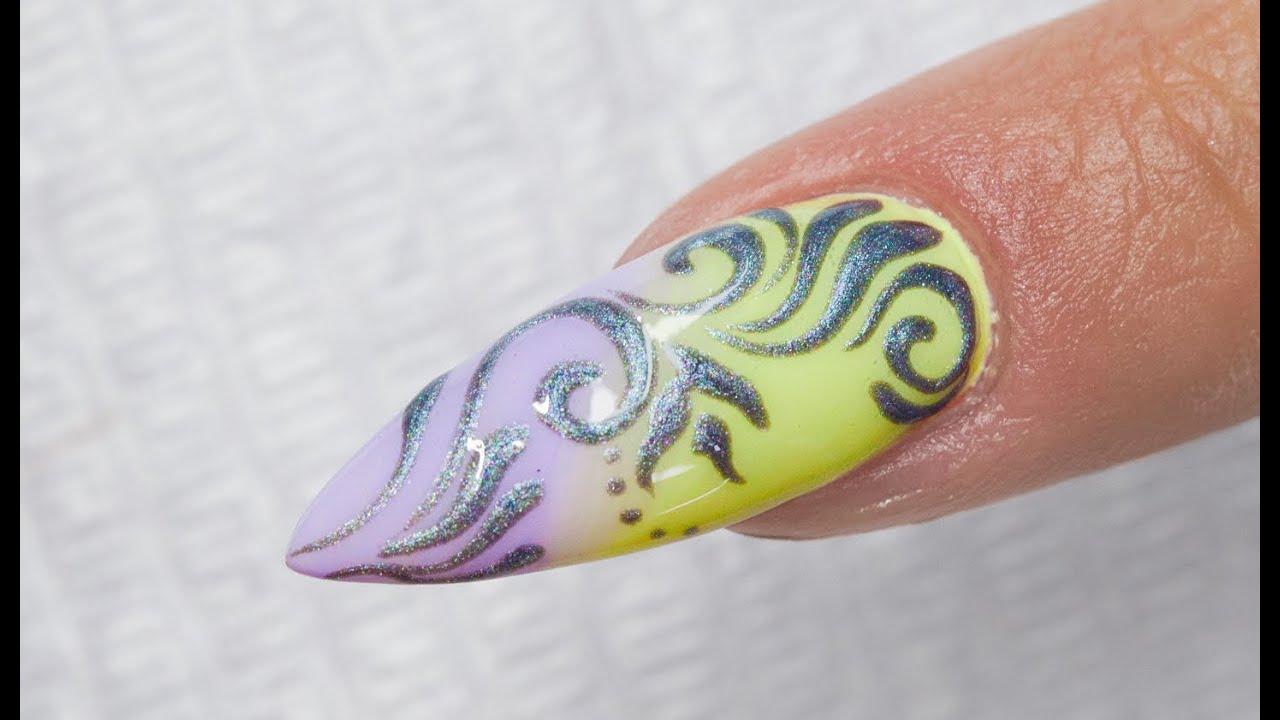 Silver Baroque 3d Ombre Nail Art Youtube