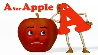 Repeat youtube video A for Apple | Alphabet ABC Songs | Phonics Song  - 3D ABC Songs & Rhymes for Children
