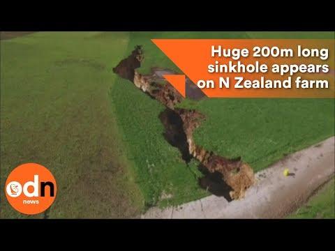 Huge 200m long sinkhole appears on New Zealand farm
