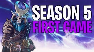 CAN I WIN MY FIRST GAME OF SEASON 5? (USING TIER 100 RAGNAROK SKIN) | FORTNITE BATTLE ROYALE