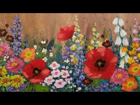 Impressionist Flower Garden Acrylic Painting Tutorial LIVE