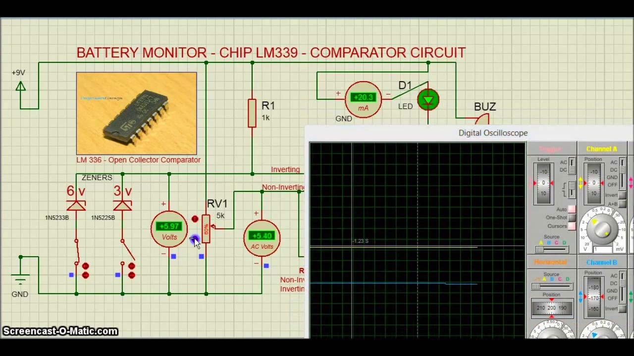 Proteus Ic Lm339 Battery Monitor Circuit Youtube Comparator Lm324