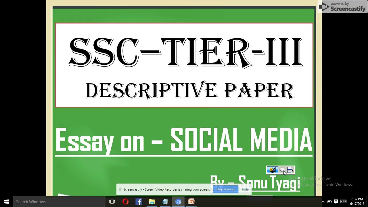 Ssc  Tier  Iii  Essay On Social Media  Youtube Ssc  Tier  Iii  Essay On Social Media Critical Analysis Essay Example Paper also Essay With Thesis Statement  Synthesis Essay Introduction Example