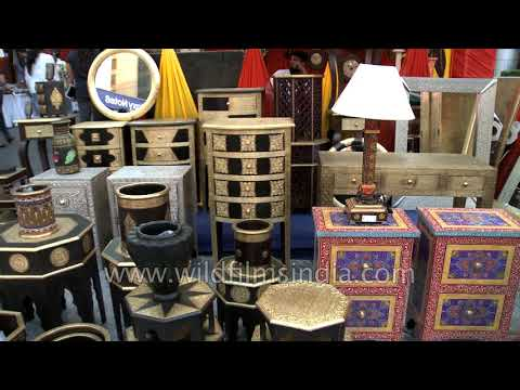 Antique clocks, furniture for sale at a fair in CyberHub, Gurugram