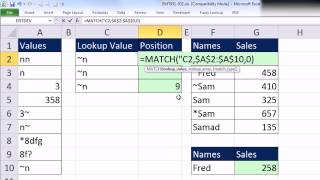 Excel Magic Trick 931: VLOOKUP & MATCH: Lookup Values With Special Characters Such As ~ * ?