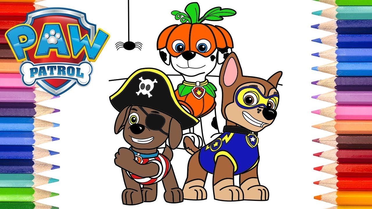 How to Draw Paw Patrol Halloween Chase, Marshall and Zuma ...