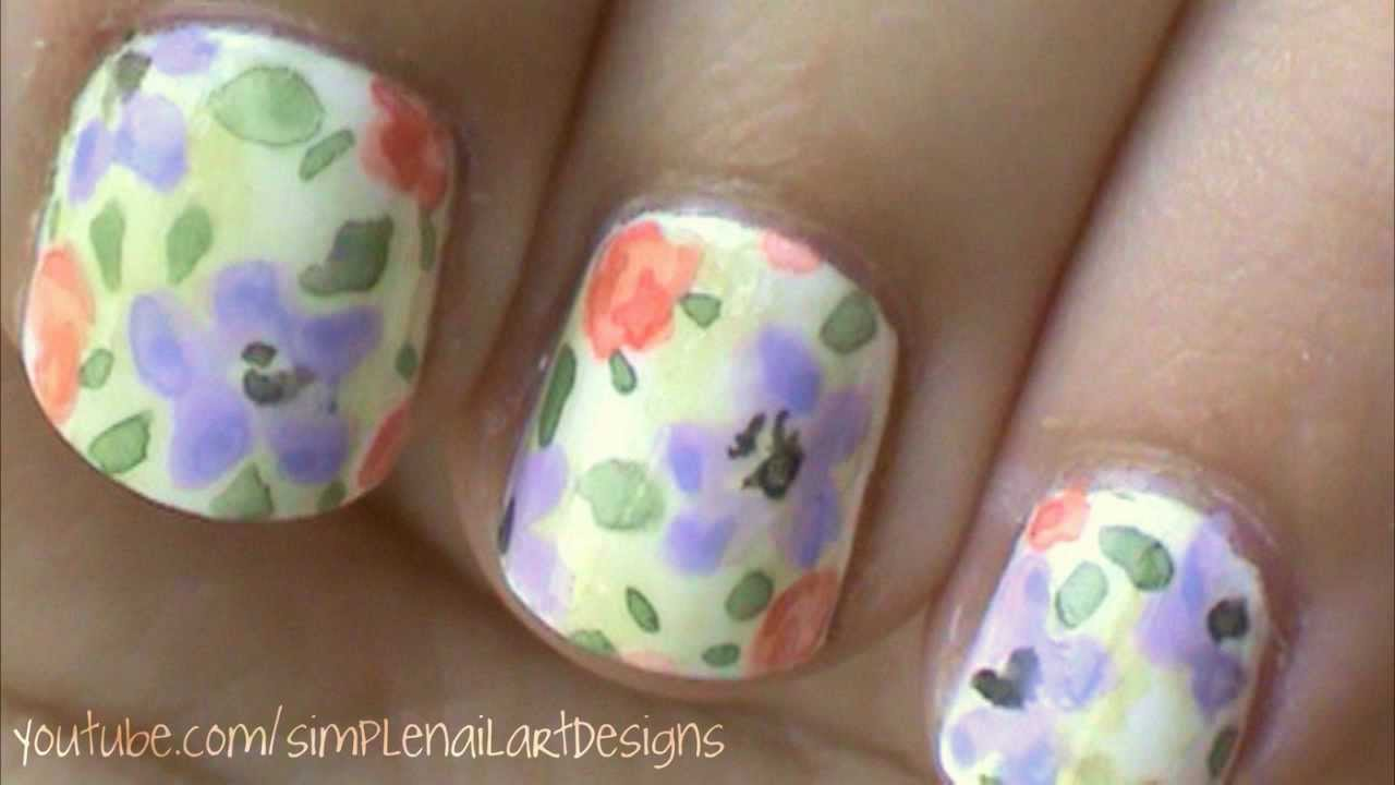 Watercolor Flower Nail Art Tutorial - YouTube
