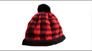 Tricotin - Bonnet plaid / Plaid hat Loom knitting