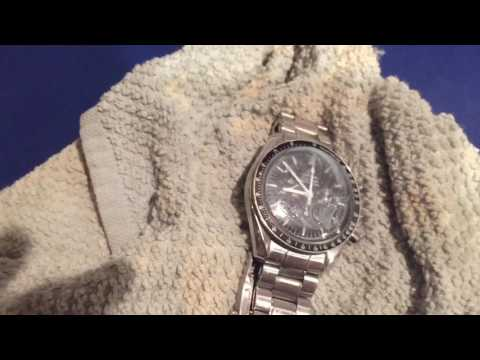 Omega Speedmaster Professional scratch repair with toothpaste