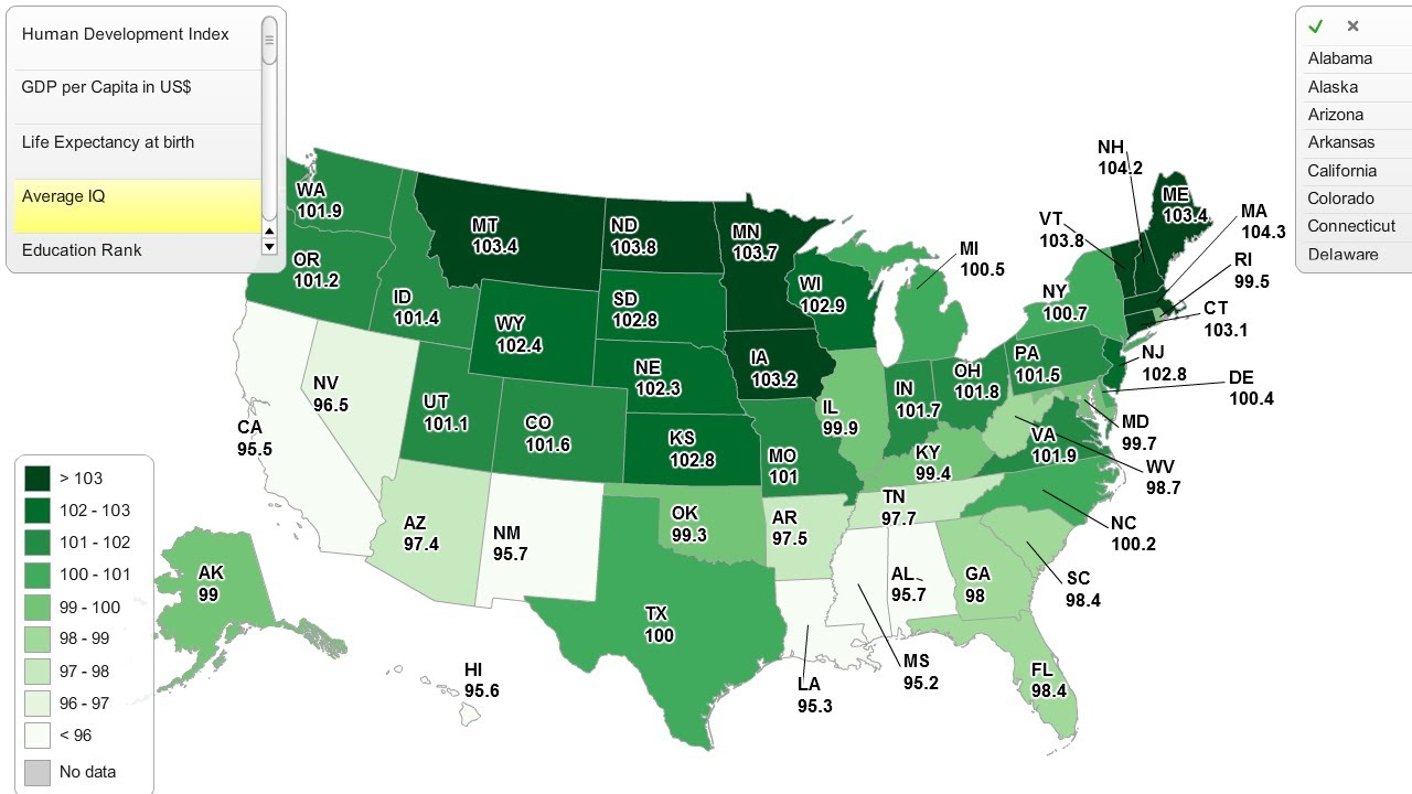 Iq By State Map Average IQ by US State   YouTube