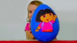 Даша Путешественница большое яйцо с сюрпризом открываем игрушки Giant surprise egg Dora the Explorer(Откроет гигантское яйцо сюрприз Даша Путешественница Дора внутри пластиковые яйца с игрушками Unboxing world..., 2015-02-13T15:33:03.000Z)