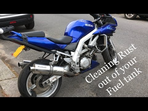 How to clean out a rusty motorcycle fuel tank ( Suzuki sv 1000 s ) part 1