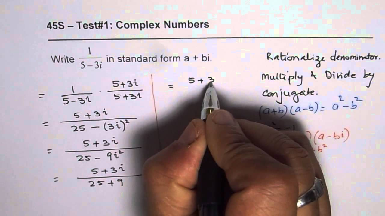 Write reciprocal of complex number in standard form youtube write reciprocal of complex number in standard form falaconquin