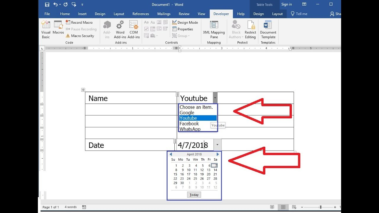 Ms Word How To Create Drop Down List Of Date Calendar Name Youtube