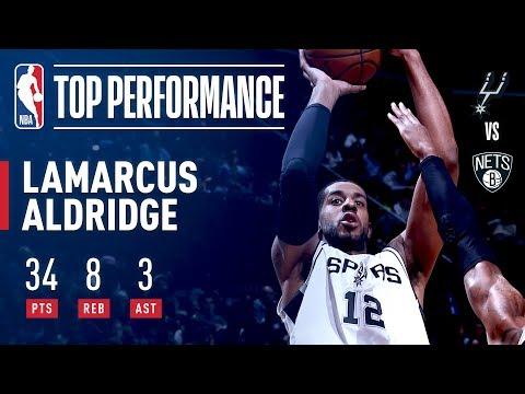 LaMarcus Aldridge's 34 Pts Power Spurs Past Nets in Brooklyn | January 17, 2018