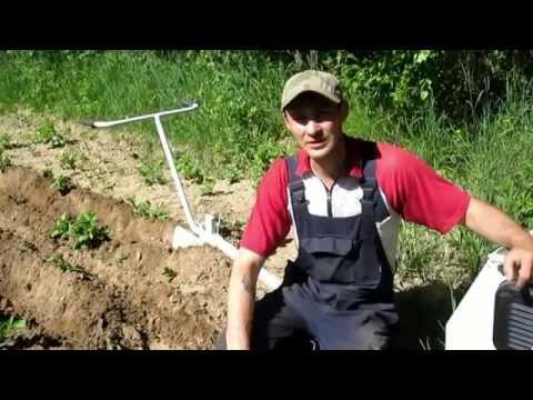 Окучивания картофеля на огороде. Электроплуг Лебёдка сельскохозяйственная ЛС 100А  3 часть