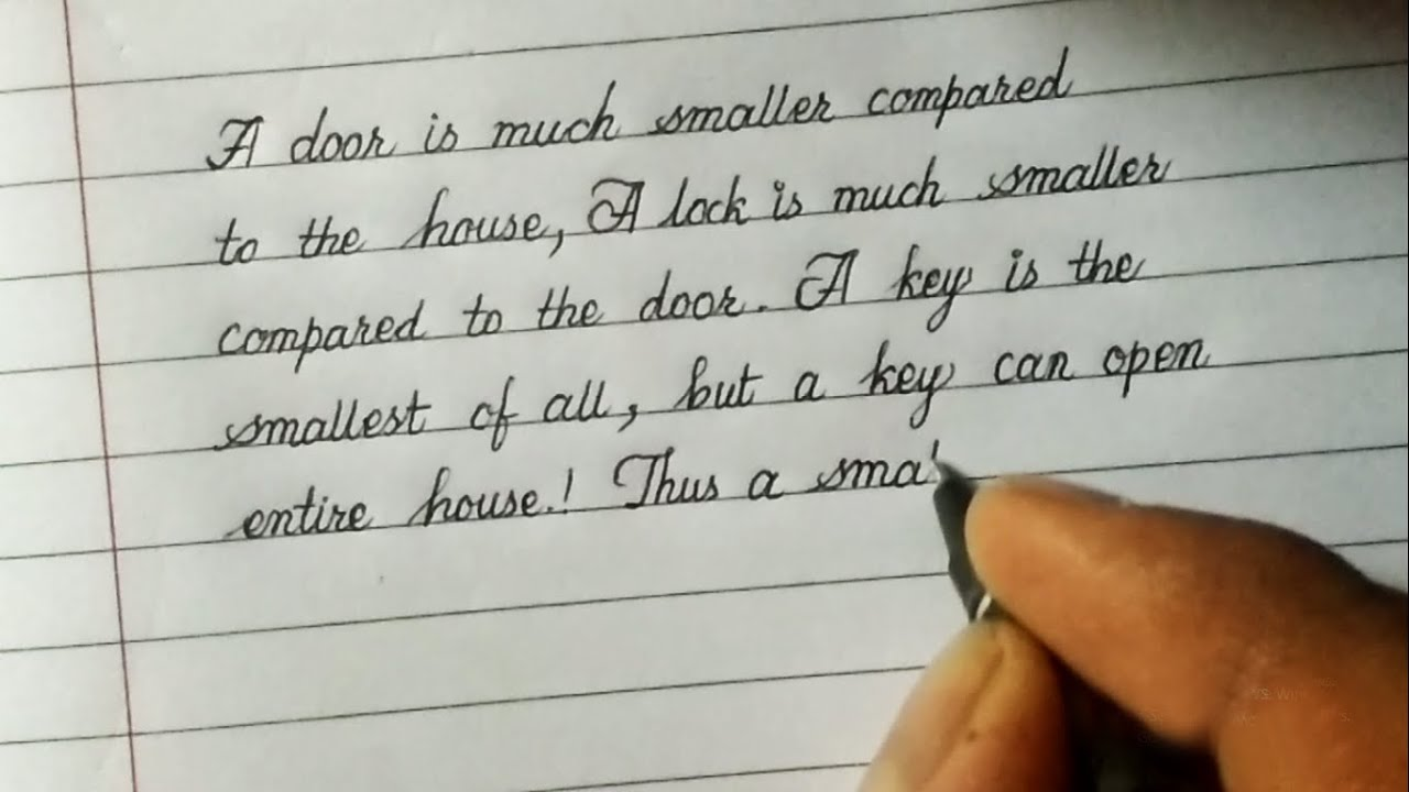 Neat cursive handwriting in ball pen