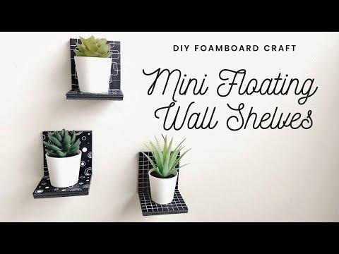 diy-mini-floating-wall-shelves- -$2-dollarama-foam-board-wall-art-ideas- -easy-home-decor