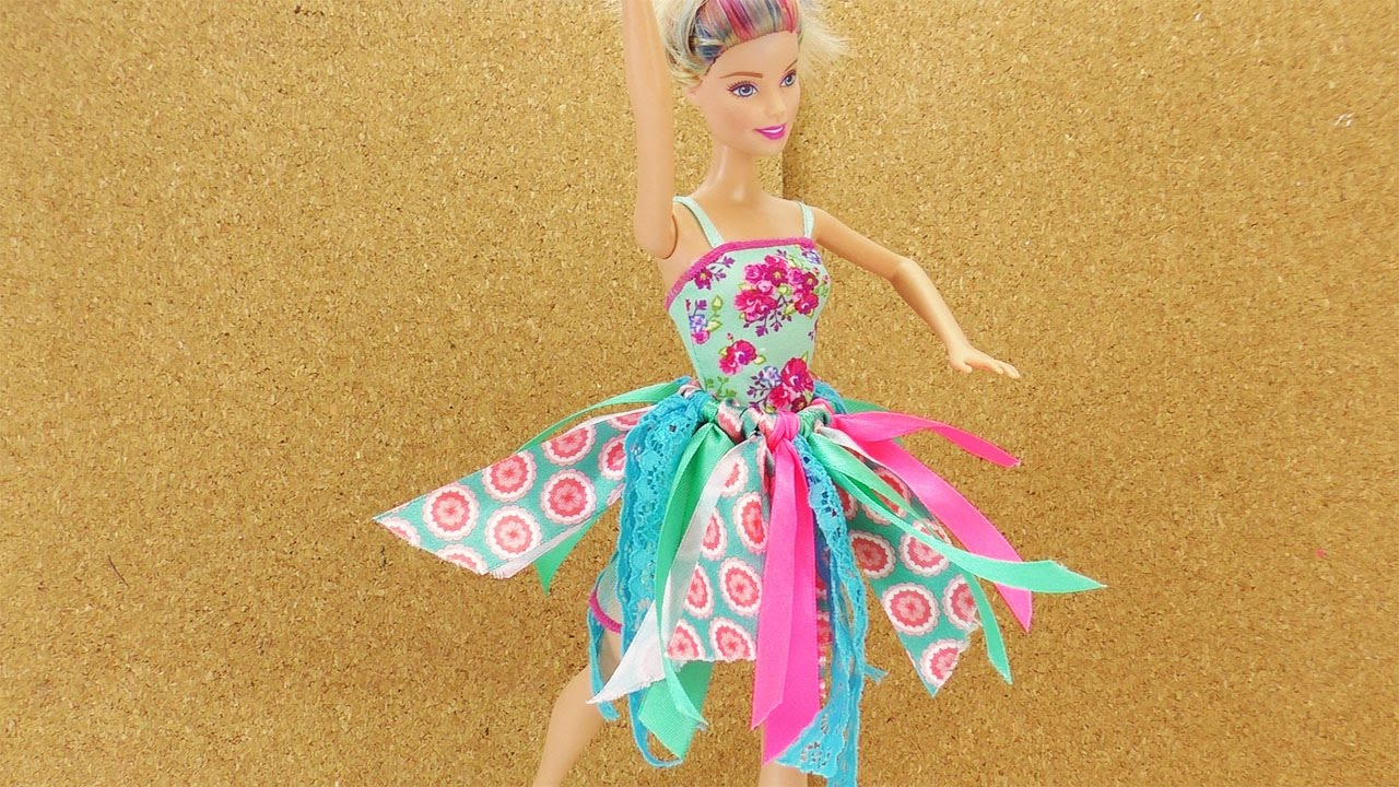 barbie ballett rock selber basteln ohne n hen diy kleidung f r puppen selber machen youtube. Black Bedroom Furniture Sets. Home Design Ideas