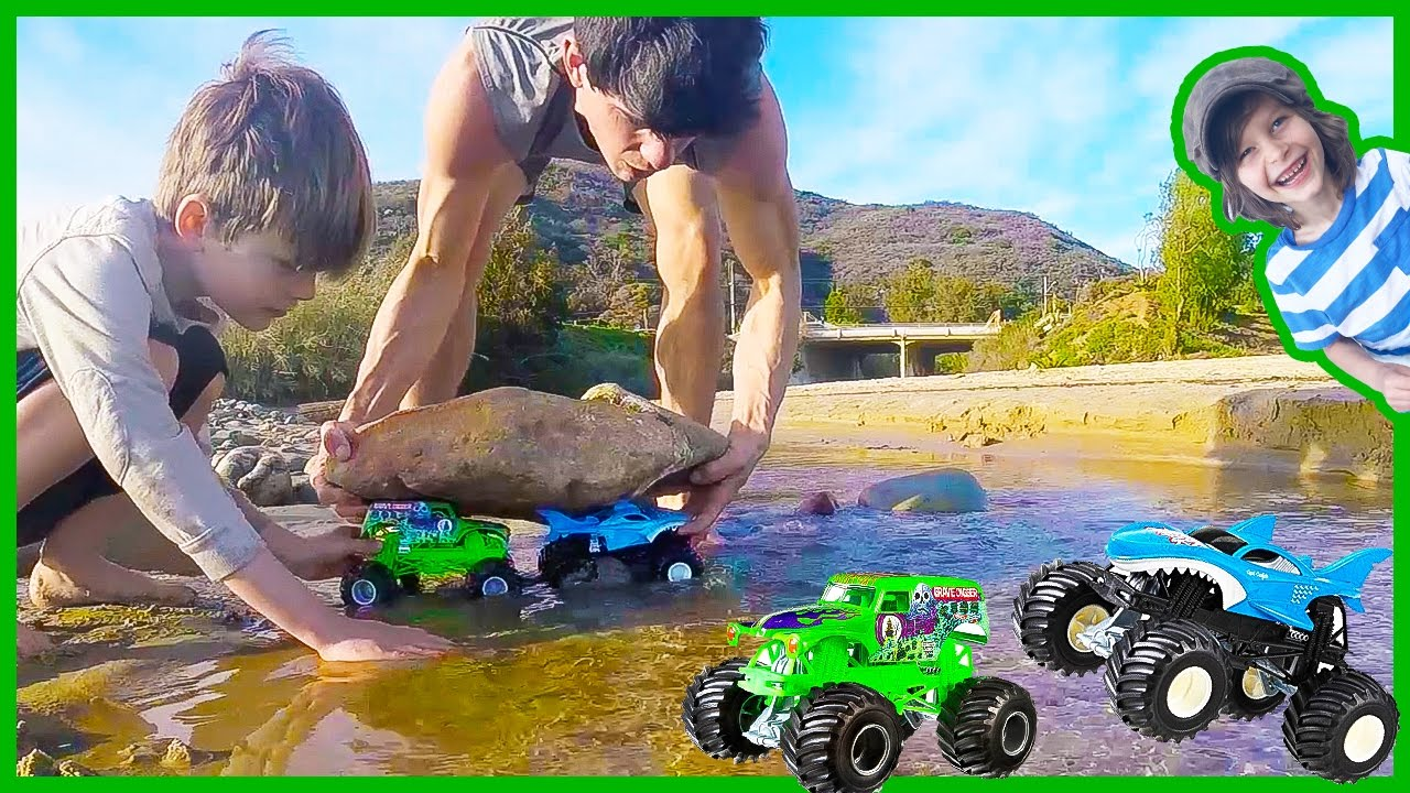 Monster Trucks Build A Dam Youtube
