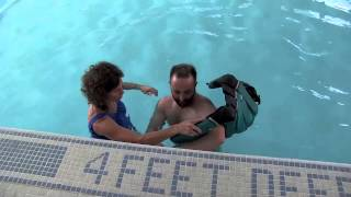 Repeat youtube video Double Amputee Swimming Lesson at Helen Hayes Hospital NY