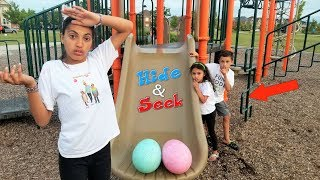 HIDE AND SEEK Kids Pretend Play In Real Life Surprise Eggs with Toys