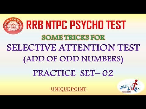 ADD OF ODD NUMBER TEST TRICK (SELECTIVE ATTENTION TEST OF RRB NTPC) PRACTICE SET- 02