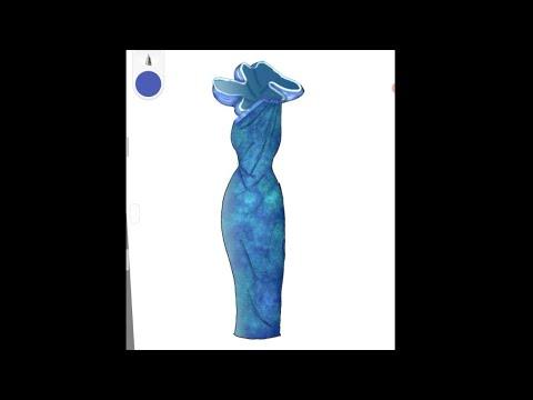 Easy to draw Blue colour dress   fashion design illustration   #trends #fashion #dress