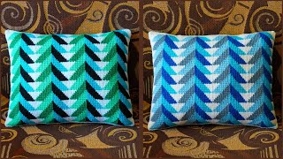 Подушка тунисским крючком с узором \елочки\. Часть 1. Crochet Pillow. Part 1.