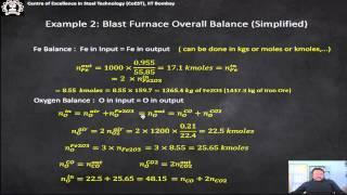 Mass balance in Process metallurgy - Module II - Blast Furnace