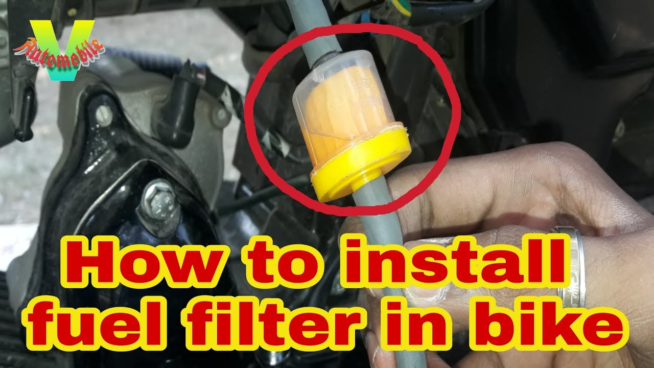 how to clean fuel filter and install aftermarket fuel filter in bike  [ 1280 x 720 Pixel ]